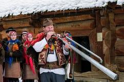 `Carols in old village` festival in TransCarpathia. Uzhgorod, Ukraine - January 15, 2017: `Carols in old village` festival in TransCarpathian Regional Museum of Stock Photos