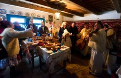 `Carols in old village` festival in TransCarpathia. Uzhgorod, Ukraine - January 15, 2017: `Carols in old village` festival in TransCarpathian Regional Museum of Stock Image