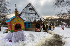 `Carols in old village` festival in TransCarpathia Royalty Free Stock Images
