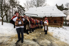 `Carols in old village` festival in TransCarpathia Stock Photo