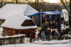 `Carols in old village` festival in TransCarpathia Royalty Free Stock Photos