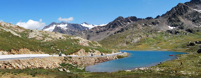 Carona gavia pass white lake. Gavia pass between the brescia and sondrio country Royalty Free Stock Images