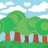 Caroon样式的无缝的森林 逗人喜爱的横向夏天 库存图片