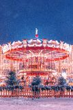 Carosello alla fiera del nuovo anno sul quadrato rosso Inverno fotografia stock