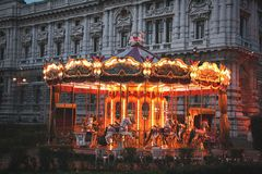 Carosello alla notte fotografia stock libera da diritti