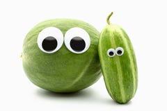 Carosello Cucumis ogórkowy melo i długi biały lampasa cucumbe Obrazy Stock