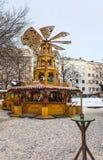 Carosello di legno di Natale Fotografia Stock