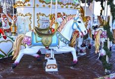 Carosello festivo decorato della rotonda fotografia stock
