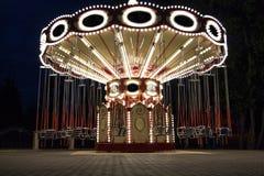Carosello nel parco di notte Fotografie Stock Libere da Diritti