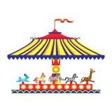 Carosello variopinto di divertimento del ` s dei bambini del fumetto con i cavalli Bambini che giocano un isolato tradizionale de illustrazione vettoriale