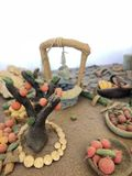 Sugar past figure. Marzipan vagetable. Carot, banana, basket, tree, apple, lemon, leaf Royalty Free Stock Photo