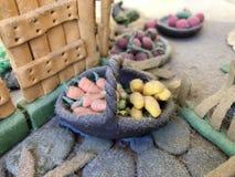 Sugar past figure. Marzipan vagetable. Carot, banana, basket, tree, apple, lemon, leaf Stock Images