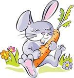 Carota sveglia della holding del coniglietto. Vettore Fotografie Stock