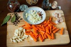Carota tagliata con aglio e le spezie immagine stock libera da diritti