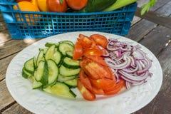 Carote affettate sedano e peperoni su un piatto Immagini Stock
