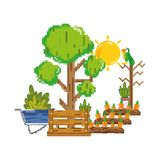 Carote di Pixelated coltivate ed azienda agricola di albero royalty illustrazione gratis