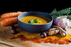 Carote e minestra delle castagne Fotografia Stock