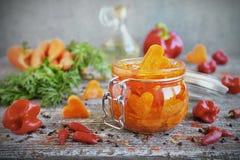 Carote marinate casalinghe con aglio ed il peperoncino rosso in barattoli di vetro immagine stock libera da diritti