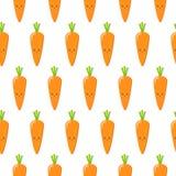 Carote, modello senza cuciture di vettore con i caratteri di verdure svegli su fondo bianco royalty illustrazione gratis