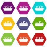 Carote in un hexahedron stabilito di colore dell'icona di legno del vaso royalty illustrazione gratis