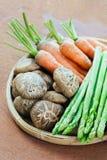 Carotte, Aparagus et champignon Photos libres de droits