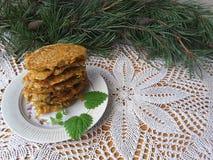 Carotte de pomme de terre avec des beignets d'aiguilles de pin Image libre de droits