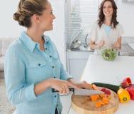 Carottes de sourire de coupe de femme avec de la sa salade de lancement d'ami Photographie stock