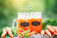 Carottes et jus de carotte frais dans le jardin Foyer sélectif de récolte Fond avec l'espace de copie Photographie stock libre de droits