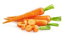 Carottes fraîches de carottes d'isolement Images stock
