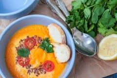 Carottes oranges de potage aux légumes de Vegan, patates douces, potiron Images libres de droits