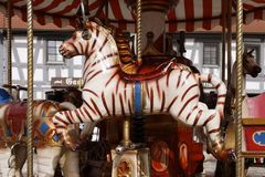 Carouse. Beautiful old carousel with Zebra Royalty Free Stock Images