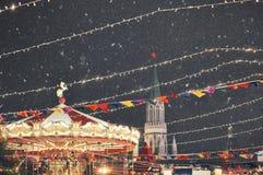 Carousel рождества в красной площади в зиме Стоковые Фото