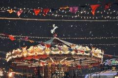Carousel рождества в Москве Зима Snowy новый год времени Стоковая Фотография RF