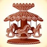 Carousel шоколада лошадей игрушки помадок рождества иллюстрация штока