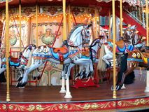 Carousel. Children on the hype karussel Royalty Free Stock Image