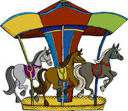 Carousel. Vector illustration fo horse carousel Stock Image