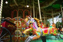 Carousel. Vintage carousel horses brightly painted Stock Photo