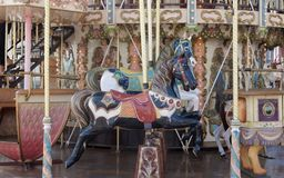 Carousel 3. Brightly painted fairground carousel horses royalty free stock photos