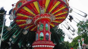 Carousel in Amusement Park Playground Fun Place Fair. For Children Happy Times
