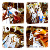 Carousel animals collage. Carousel animals close-up - Phoneography collage stock image