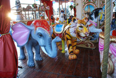 Carousel Animals. Shot of a traditional carousel in an amusement park Royalty Free Stock Photo
