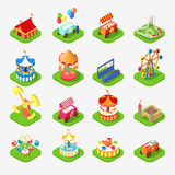 Carousel attraction entertainment park icon 3d isometric vector Stock Images