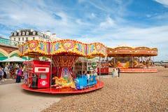 Carousel on beach. Brighton, England Stock Images