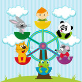 Carousel with the boy and animals. Vector illustration, carousel with the boy and animals Royalty Free Stock Photos