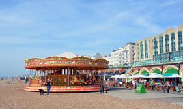 Carousel on  Brighton Beach, England UK. Stock Photo