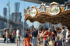 Carousel at Brooklyn Bridge in New York City Royalty Free Stock Images