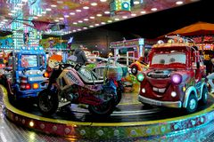 Carousel cars ride Stock Images