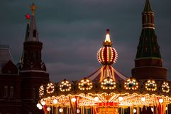 Carousel on the city street stock photography