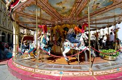 Carousel for children - Florence. The Piazza della Repubblica is a square in the city centre - carousel for children Royalty Free Stock Photo