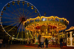 Carousel at the Christmas fair. Carcassonne. France stock image